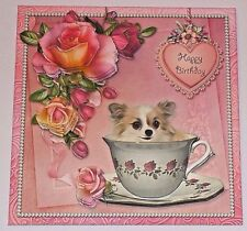 Handmade Greeting Card 3D Happy Birthday With A Dog in A TeaCup