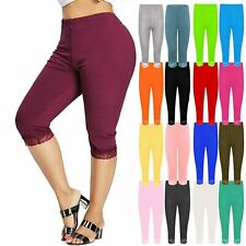 Plus Size Womens Lace Trim Stretchy 3/4 Length Capri cropped Leggings Gym Pants
