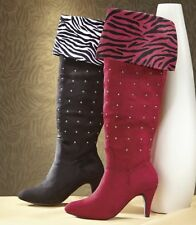 NEW WOMENS RED ANDIAMO SHARNI BOOTS ZEBRA STRIPED SIZE 8 M 8M