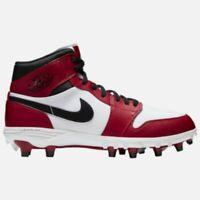 AUTHENTIC AIR JORDAN 1 TD MID FOOTBALL CLEATS RETRO BRED BLACK RED WHITE SZ 7-14