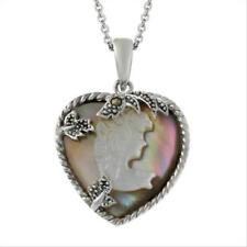 925 Silver Brown Shell & Marcasite Woman Cameo Pendant, 18""