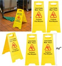6 Packs Restaurant Caution Wet Floor Yellow 24 In Folding Sign English Spanish