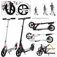 Adult Kick Scooter Foldable 3Levels Adjustable Height 2-Wheel Hand Brake Durable