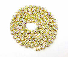 MENS GOLD SILVER FINISH CUBIC ZIRCONIA FLOWER CLUSTER CHAIN NECKLACE