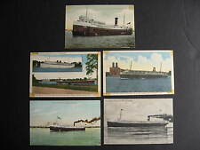 Canada 5 steamers steamships postcards, presentable but all have faults