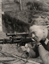 WW2 Photo WWII Weary German Wehrmacht Soldier Scoped MG34  World War Two/ 2542