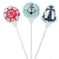 """Self-inflating Nautical Mylar Balloons (12 Pack)  4"""" - 4 1/2"""""""