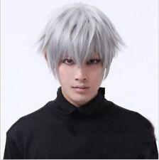 Gris Vogue Tokyo Goules Ken Haneki Perruque Cosplay Homme Court Fête D'halloween