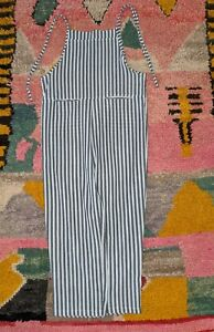 GRAY + WHITE STRIPED OVERALLS LIGHTWEIGHT SHOULDER TIES XS