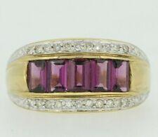 9ct Yellow Gold Amethyst & Diamond Ring Size O