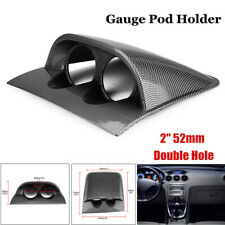 "1×Carbon Fiber Look Car 2"" 52mm Universal Double Hole DashBoard Gauge Pod Holder"