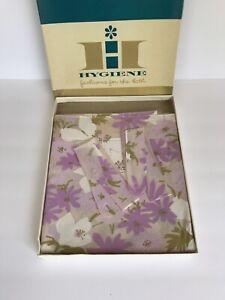 Vintage Plastic Shower Curtain Mid Century NOS Purple White Floral w/ Tie Backs