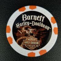 BARNETT HD ~ TEXAS ~ (Wide Print White/Orange) Harley Davidson Poker Chip