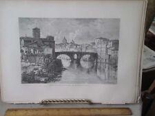 Vintage Print,ISLAND OF TIBER,Rome,Francis Wey,1872