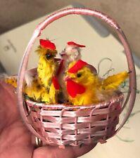 Vintage Chenille Easter Chickens in basket Japan