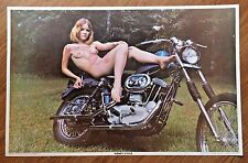 "VINTAGE 1970 - HONEY CYCLE POSTER - BIKER HARLEY 35x22.5"" -NEAR MINT"