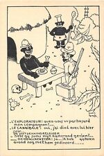 POSTCARD  COMIC   BLACK  HUMOUR    Explorer  and  Cannibal  (  French )