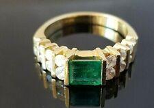 1.80TCW Emerald Cut Emerald Diamond Modern 14k yellow gold ring