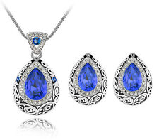 Vintage Style Royal Blue Teardrop Jewellery Set Stud Earrings Necklace S857