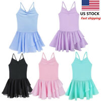 US Toddler Girls Gymnastics Leotard Dress Ballet Dance Skirt Dancewear Costume