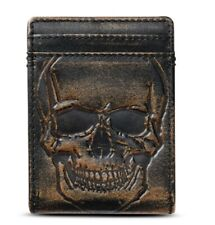 SKULL BIFOLD Front Pocket Wallet•Money Clip Wallet•Full Grain Leather With Hand