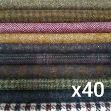 """British Tweed 40 Pieces 100%Wool 10x10cm 4x4"""" Remnant OffCut Squares *Not Harris"""