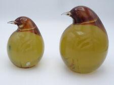 PAIR of ITALIAN MURANO SEGUSO ARTE VETRO PENGUIN AMBER ART GLASS SCULPTURE