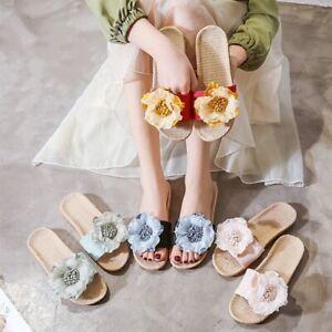 Flower Flax Ladies Slipper Beach Indoor Shoes Flats Slip on