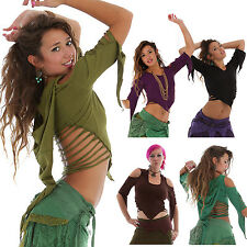 Slashed Back Top Cotton Pointy 3/4 Sleeves Crop Psy Trance Pixie Hood Festival