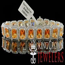 WHITE GOLD ON REAL SILVER MENS LADIES LAB DIAMOND BROWN SMOKEY TOPAZ BRACELET