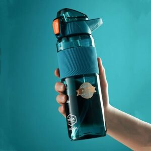 550ml/750ml Sports Water Bottle With Straw Portable Gym Fitness Sports Shaker