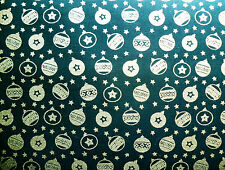 1M Dark Green & Gold Baubles XMAS Fabric COTTON Patchwork Crafts Quilting Sewing