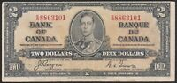 1937 Canada Bank Note $2 KGVI P59c  Coyne/Towers VF TMM*