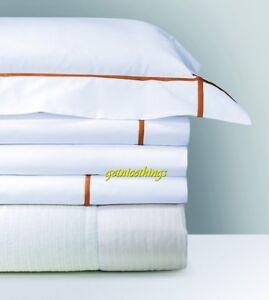 Yves Delorme Athena Coral King Shams Cotton Percale 500 TC $300 Pair NWT
