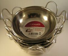 6 x Curry Kadai Bowls Balti Dishes Set 15cm 6 Inches Stainless Steel PRIMA New
