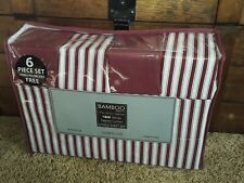 Bamboo Essence Pin Stripe Collection 1800 Series Egyptian Cotton Queen Sheets