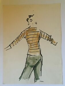 Mid-Century 1950's Pen, Ink, Watercolor  Fashion Illustration Original & Signed