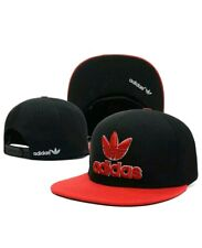Embroidered Adidas Trefoil Snapback Flat Cap Red & Black: One Size Fits Most