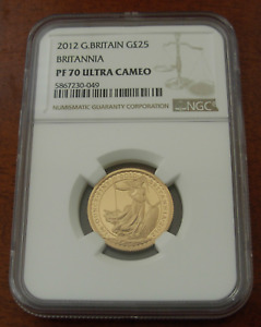 Great Britain 2012 Gold 1/4 oz 25 Pounds NGC PF70UC Britannia