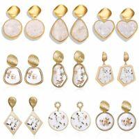 Fashion Boho Stud Earrings Women Metal Geometric Pearl Shell Dangle Jewelry Gift