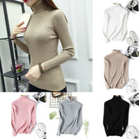 Womens Fit Long Sleeve Top Slim Pullover Knitted Warm Sweater Turtleneck Winter