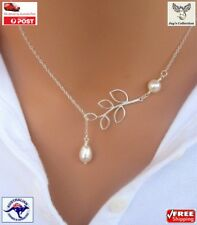 Fashion Beautiful Elegant Pearl Necklace with Silver Plated Chain Women [A1W~B3]