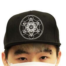 Eunoian Metatron's Cube Strapback Hat Snapback Sacred Geometry Ohm Om Hippie Cap