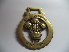 ROYAL WEDDING    1981   Brass Medallion horse/Collectiable