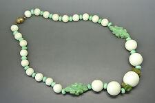 VINTAGE Francese Art Deco 50s Louis Rousselet Bianco Vetro Collana Di Perline