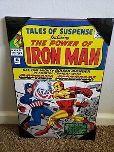 Iron Man Captain America Wood Wall Art Marvel Comics Silver Buffalo Plaque