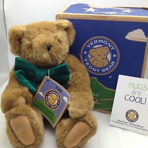 """Vermont Teddy Bear Posable Green Bow Tie with Tags & Box Brown Plush 16"""""""