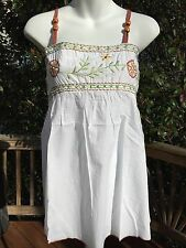 New_Beautiful Shirt_Peasant Boho White Cotton Embroidered Beaded Top_S/M, M/L