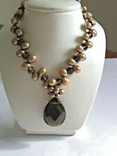 """18"""" Brown Topaz Fresh Water Pearl Necklace 14K Yellow Gold Clasp"""