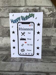 Tik Tok Happy Birthday Card Personalised With Name